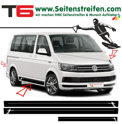 VW Bus T6 Wakeboard Wasserski Wassersport Edition Seitenstreifen Dekor Set Art.Nr.: 6999