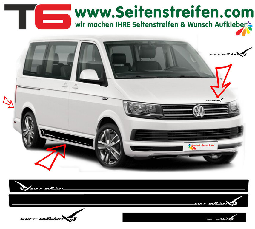 VW Bus T6 - Surf Edition Sport  - Side Stripes Graphics Decals Sticker Kit - N° 6929