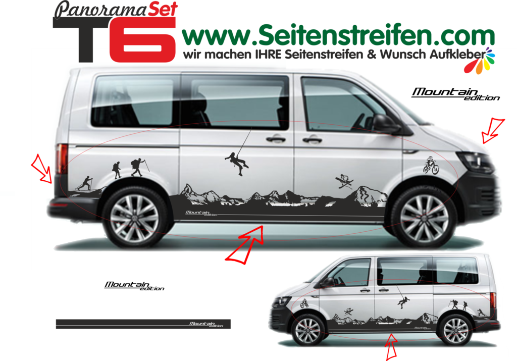 VW T6 Matterhorn Mountain Panorama Outdoor -bil klistremerker edition look fullständig set - N° 5903