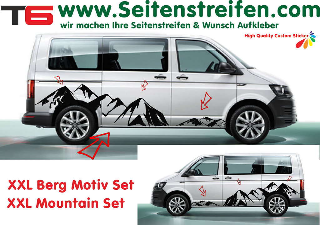VW T6 XXL Mountain Panorama - bil klistremerker edition look fullständig set - N° 7172