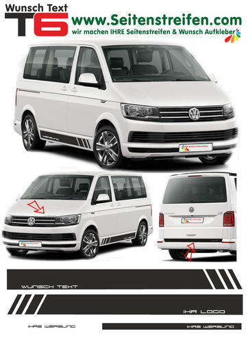 "VW T6 Edition ""Own Text/Logo"" - side stripe sticker decal complete set- N° 5384"