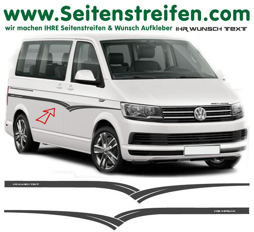 "VW T6 Wings ""Own Text/Logo"" - side stripe sticker decal complete set- N° 7103"