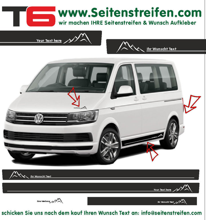 VW BUS T6 - Mountains Your Text - Side Stripes Graphics Decals Sticker Kit - N° 6680
