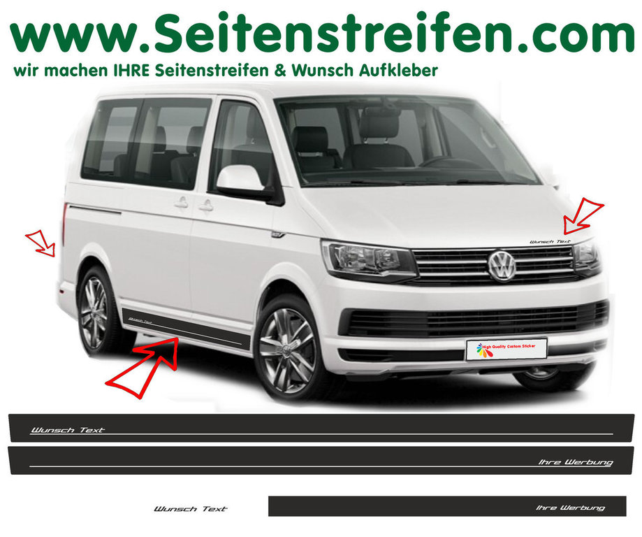 VW BUS T6 Edition Look Your Text - Side Stripes Graphics Decals Sticker Kit - N° 2685