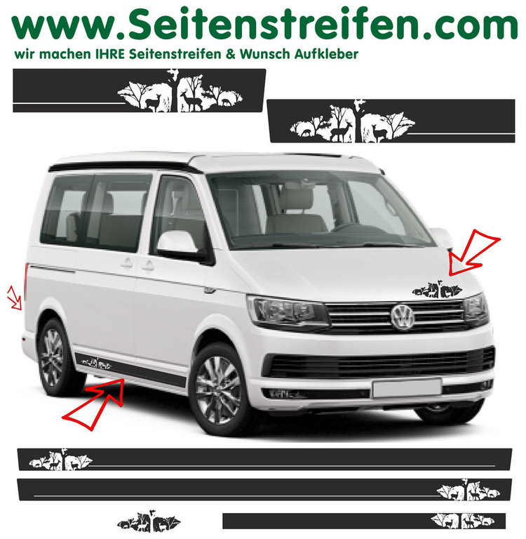 VW BUS T6 - Your Text Deer Forest Nature - Side Stripes Graphics Decals Sticker Kit - N° 7846