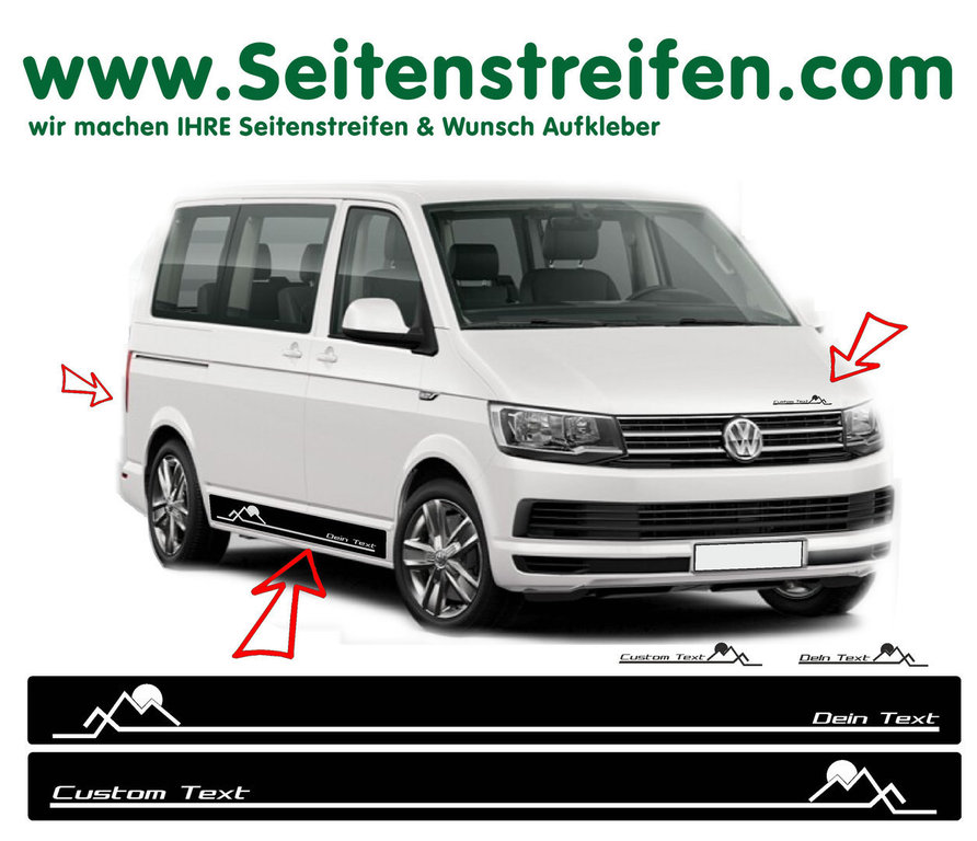 VW BUS T6 - Your Text Sun Mountains Hiking - Side Stripes Graphics Decals Sticker Kit - N° 7112