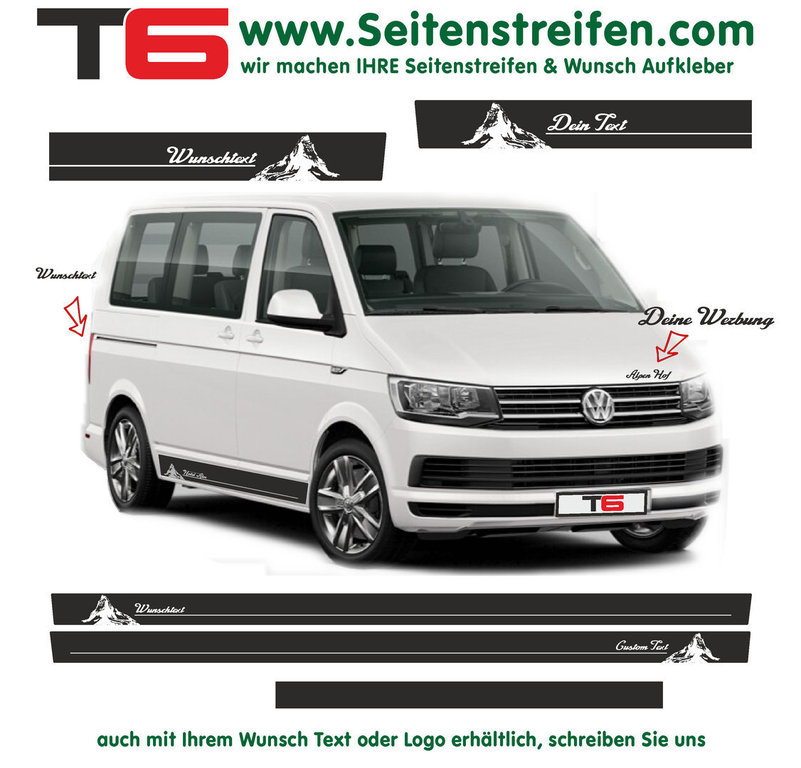 VW BUS T6 - Your Text Matterhorn Mountains - Side Stripes Graphics Decals Sticker Kit - N° 7152