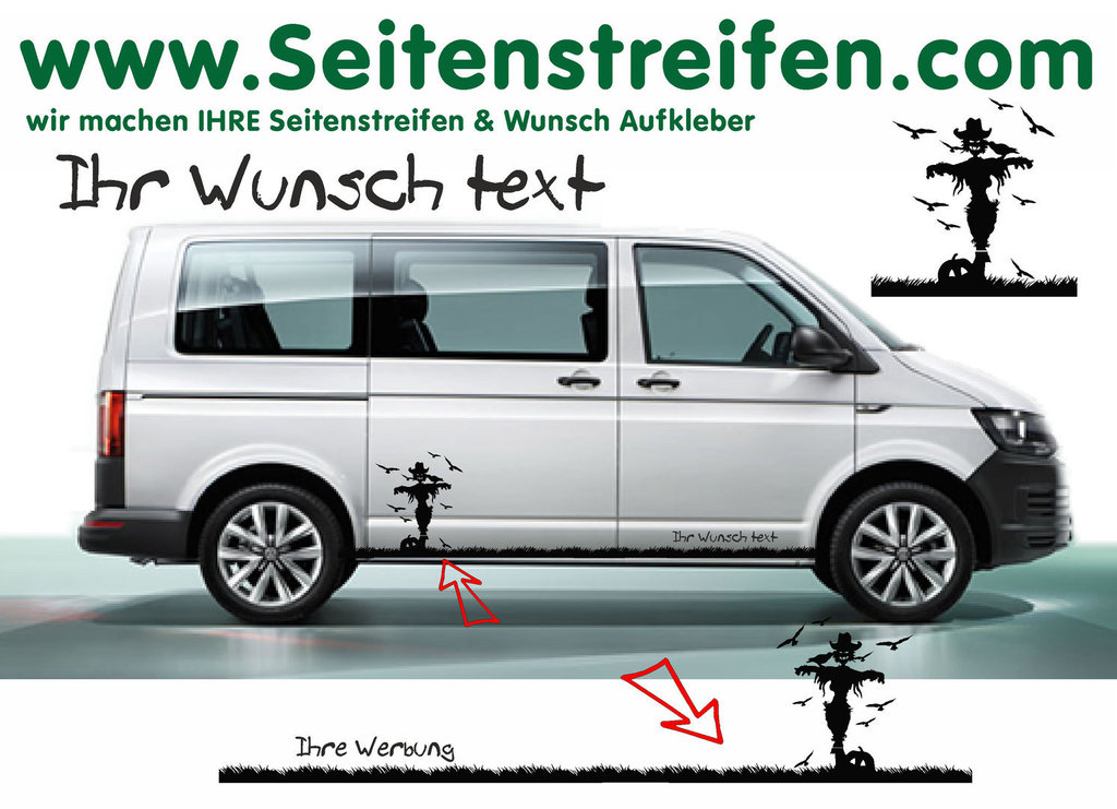 VW BUS T6 - Your Text Halloween Witch Pumpkin Crows - Graphics Decals Sticker Kit - N° 7849