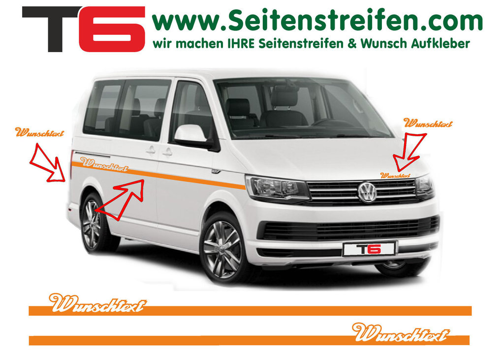 VW BUS T6 - Your Text Elegant Custom - Side Stripes Graphics Decals Sticker Kit - N° 7158