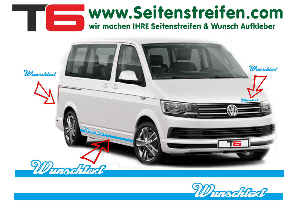 VW BUS T6 Your Text Elegant Custom - Side Stripes Graphics Decals Sticker Kit - N° 7110