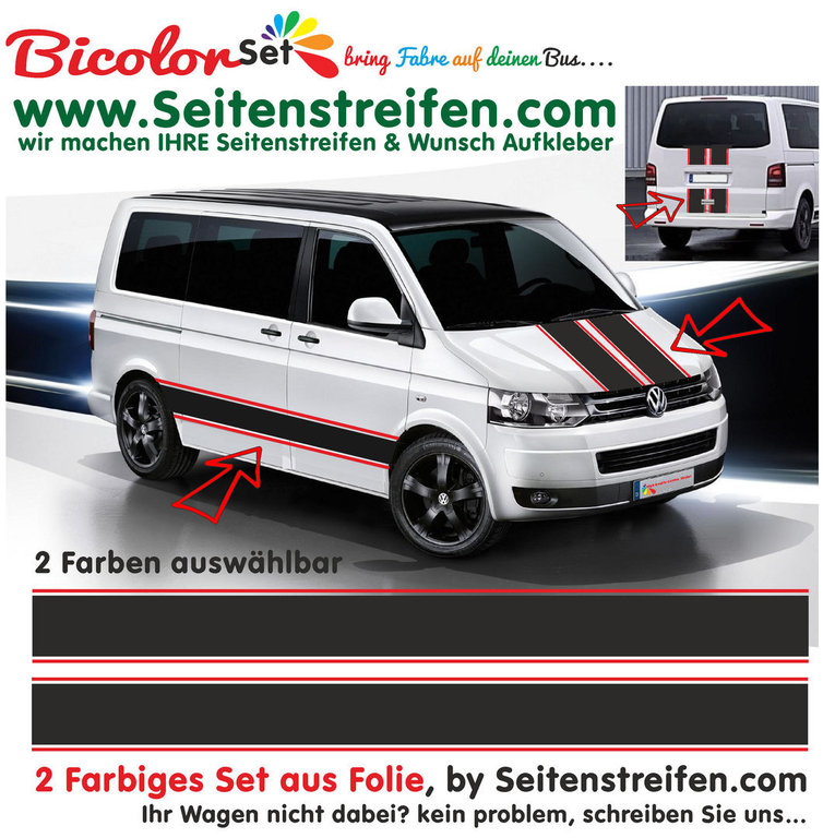 VW Bus T4 T5 T6 - Bicolor XXL - 2 Colors - Side Stripes Graphics Decals Sticker Kit - N° 1441