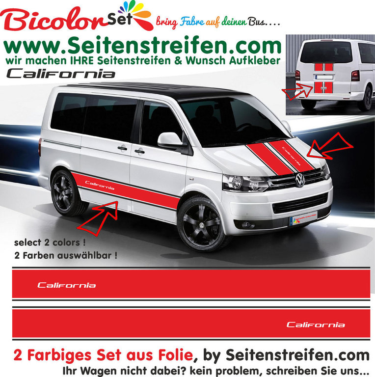 VW Bus T4 T5 T6 California XXL - Bicolor - 2 Colors - Graphics Decals Sticker Kit - N° 1442
