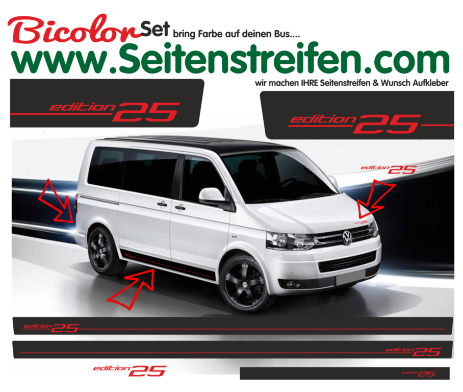 VW Bus T4 T5 T6 Edition 25 - Bicolor - 2 Colors - Side Stripes Graphics Decals Sticker Kit - N° 2451