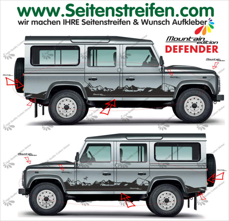 Land Rover Defender Matterhorn Panorama Outdoor - side stripe sticker decal complete set - N° 8012