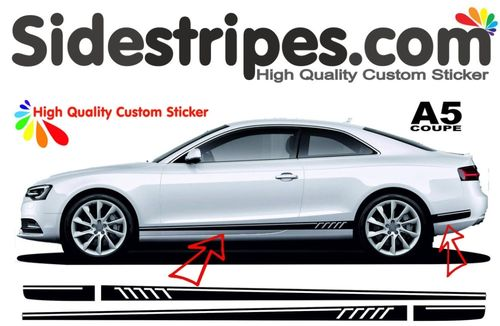 Audi A5 S5 Coupe RS Look - adesivi laterali adesive auto sticker - N° 9947