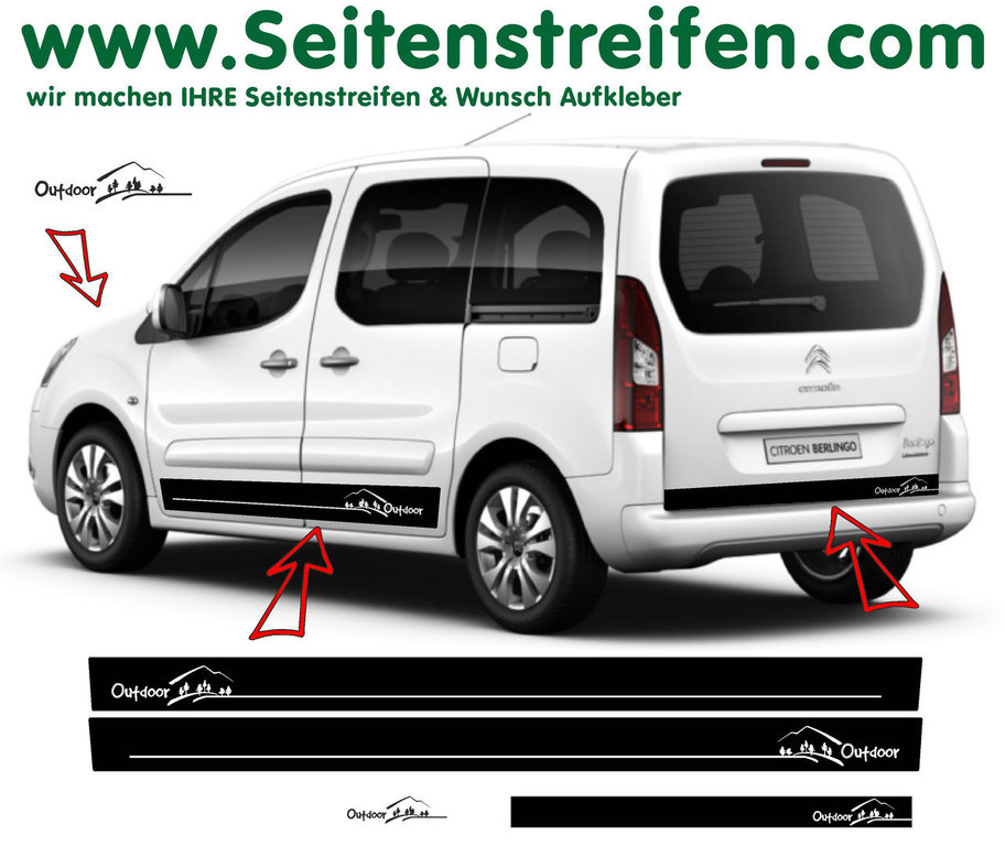 Citroen Berlingo Outdoor Edition Seitenstreifen Aufkleber Dekor Set Art.Nr.: 7254