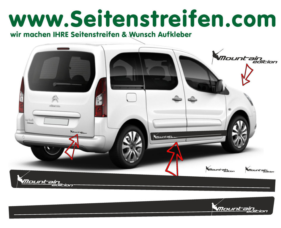 Citroen Berlingo Bergsteiger Mountain Edition Seitenstreifen Aufkleber Dekor Set Art.Nr.: 7257