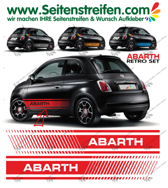 Fiat 500 ABARTH XL RETRO EVO - Side Stripes Graphics Decals Sticker Kit - N° 1492