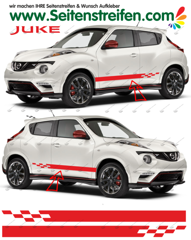 Nissan Juke Nismo R Look - Side Stripes Graphics Decals Sticker Kit - N° 1535