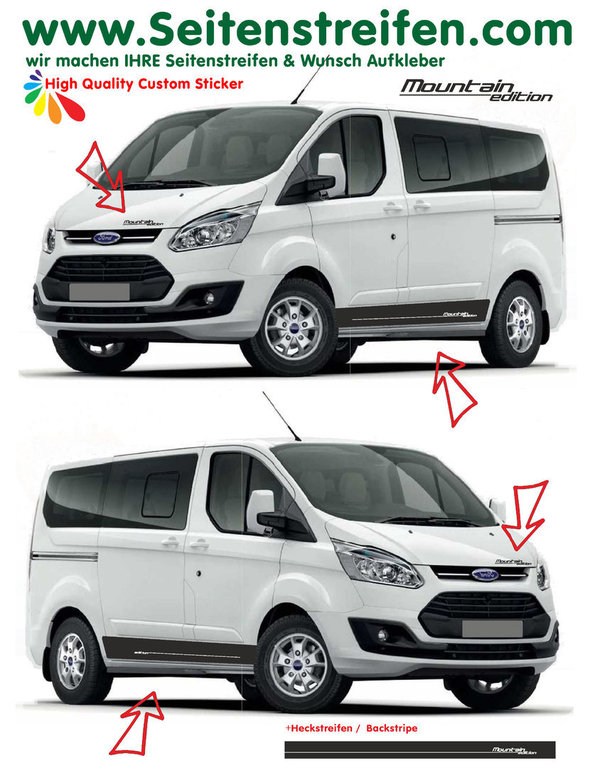 Ford Transit Custom Mountain Edition  - side stripe sticker decal complete set  - N° 1161