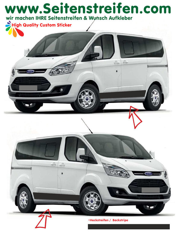 Ford Transit Custom Edition - side stripe sticker decal complete set  - N° 1162
