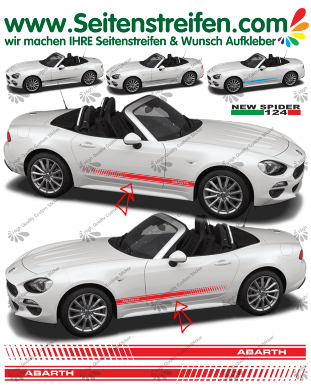 Fiat Spider ABARTH EVO  - NEW SPIDER 2016 - side stripe sticker decal complete set  - N° 1974