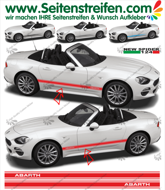 Fiat Spider ABARTH - NEW SPIDER 2016 - side stripe sticker decal complete set  - N° 1975
