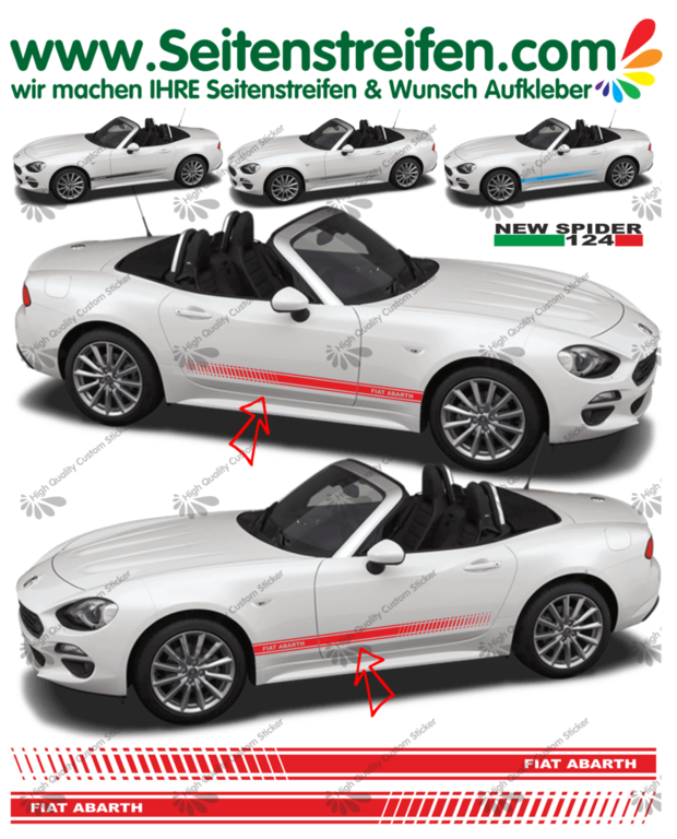 Fiat Spider ABARTH EVO  - NEW SPIDER 2016 - side stripe sticker decal complete set  - N° 1976
