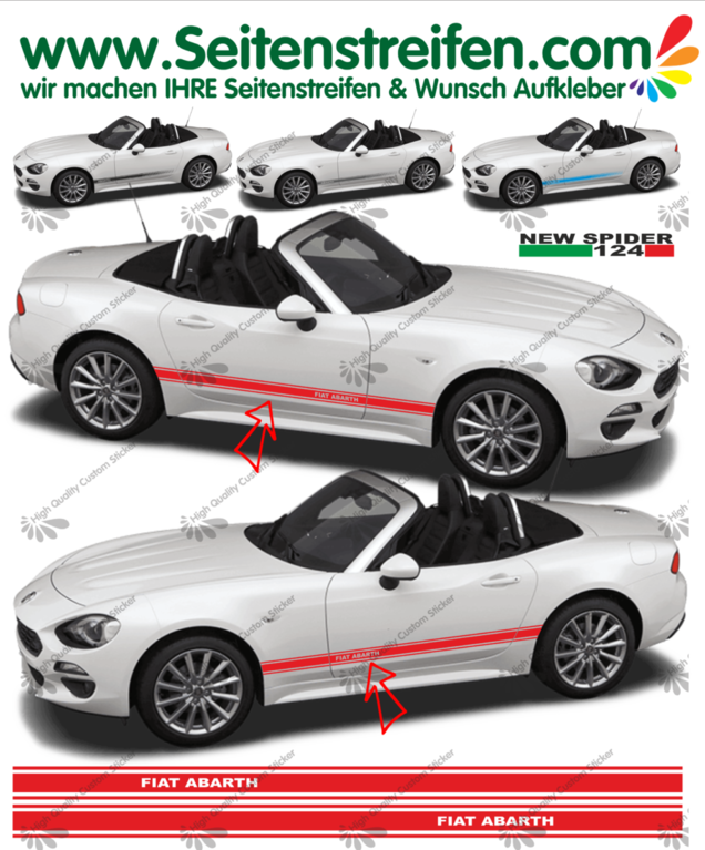 Fiat Spider ABARTH - NEW SPIDER 2016 - side stripe sticker decal complete set  - N° 1977