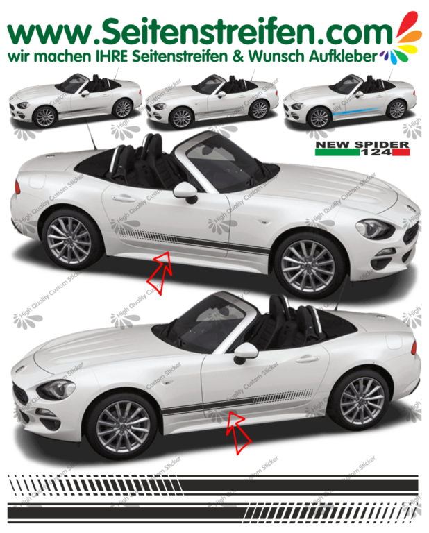 Fiat Spider EVO  - NEW SPIDER 2016 - side stripe sticker decal complete set  - N° 1978