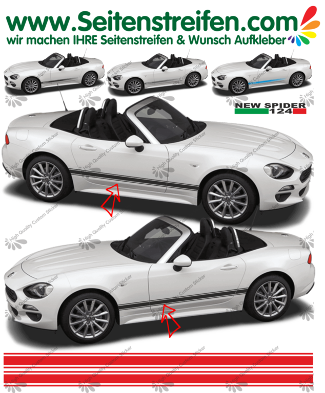 Fiat Spider Classic  - NEW SPIDER 2016 - side stripe sticker decal complete set  - N° 1979
