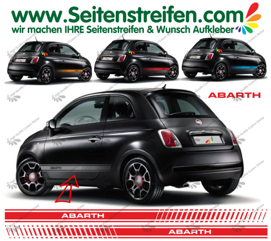 Fiat 500 ABARTH EVO - Side Stripes Graphics Decals Sticker Kit - N° 1491