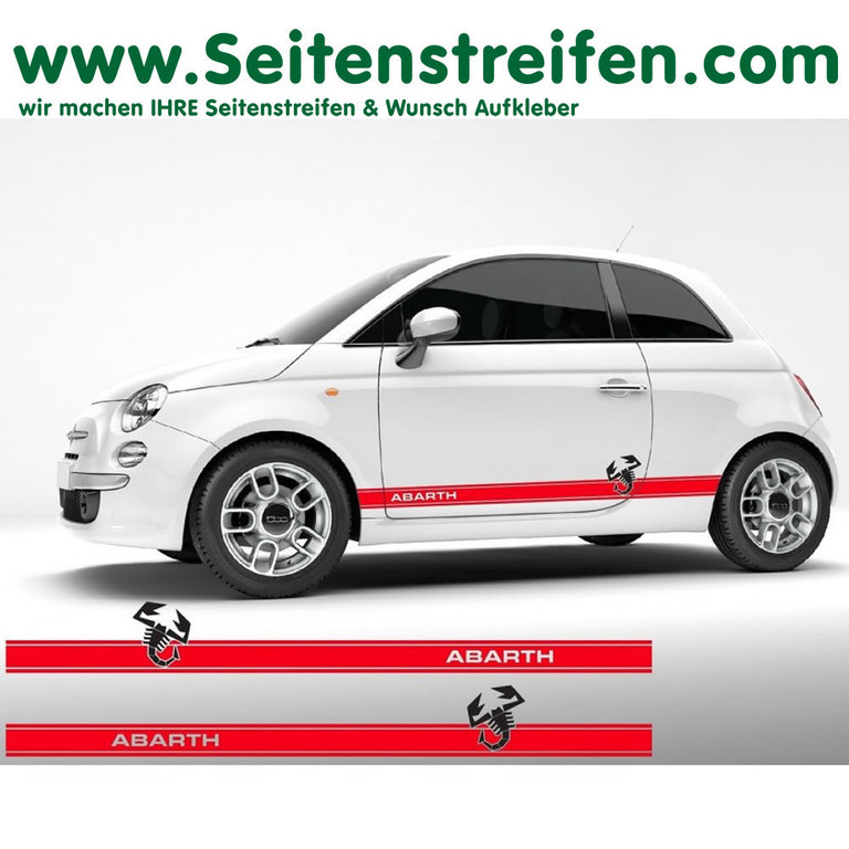 Fiat 500 Abarth Scorpion EVO - Side Stripes Graphics Decals Sticker Kit - N° 7897