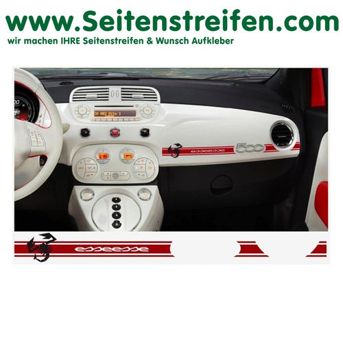 Fiat 500 Abarth Scorpio esseesse Dashboard-Sticker - decalsats, bildekaler fullständig set - N° 7893
