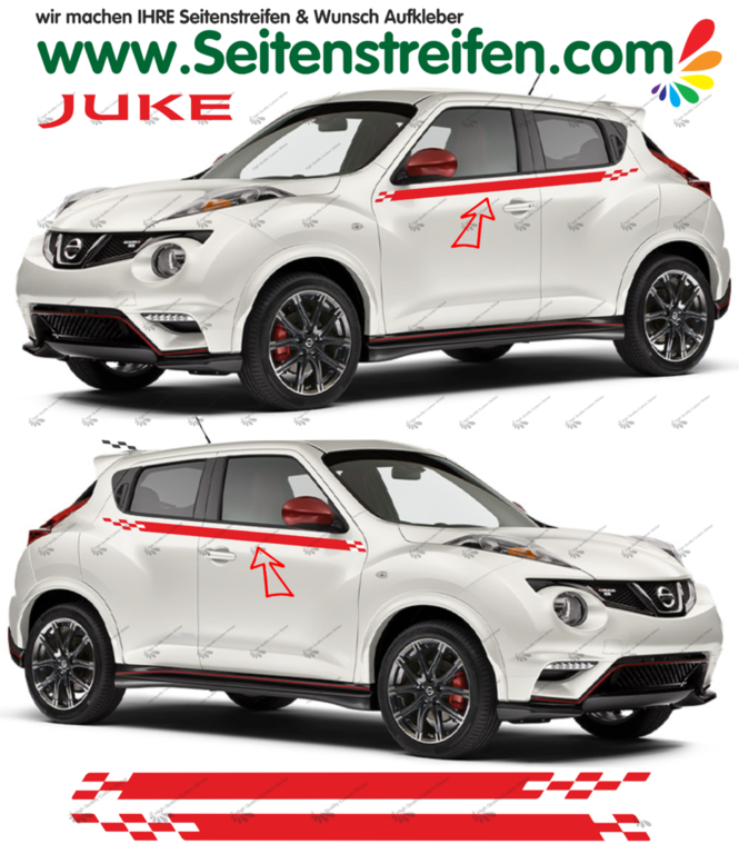 Nissan Juke Nismo R Look - Side Stripes Graphics Decals Sticker Kit - N° 1534