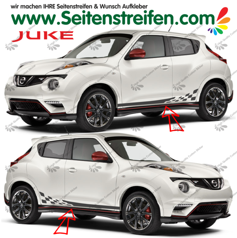 Nissan Juke Nismo R Checker Look - Side Stripes Graphics Decals Sticker Kit - N° 1537