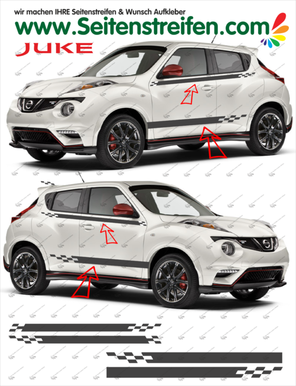 Nissan Juke Nismo R Look - Side Stripes Graphics Decals Sticker Kit - N° 1533
