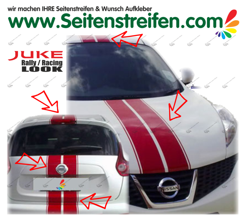 Nissan Juke Nismo Viper Rally - Hood + Roof + Back Graphics Decals Sticker Kit - N° 1536