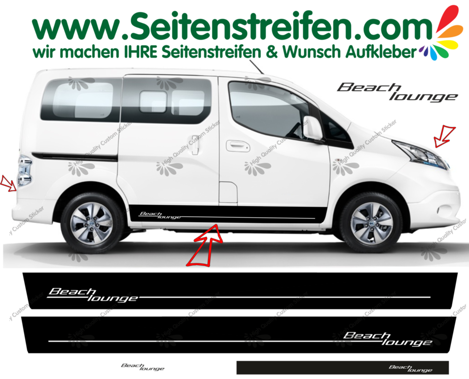 Nissan Evalia NV200 Beach Lounge - Side Stripes Graphics Decals Sticker Kit - N° 1522