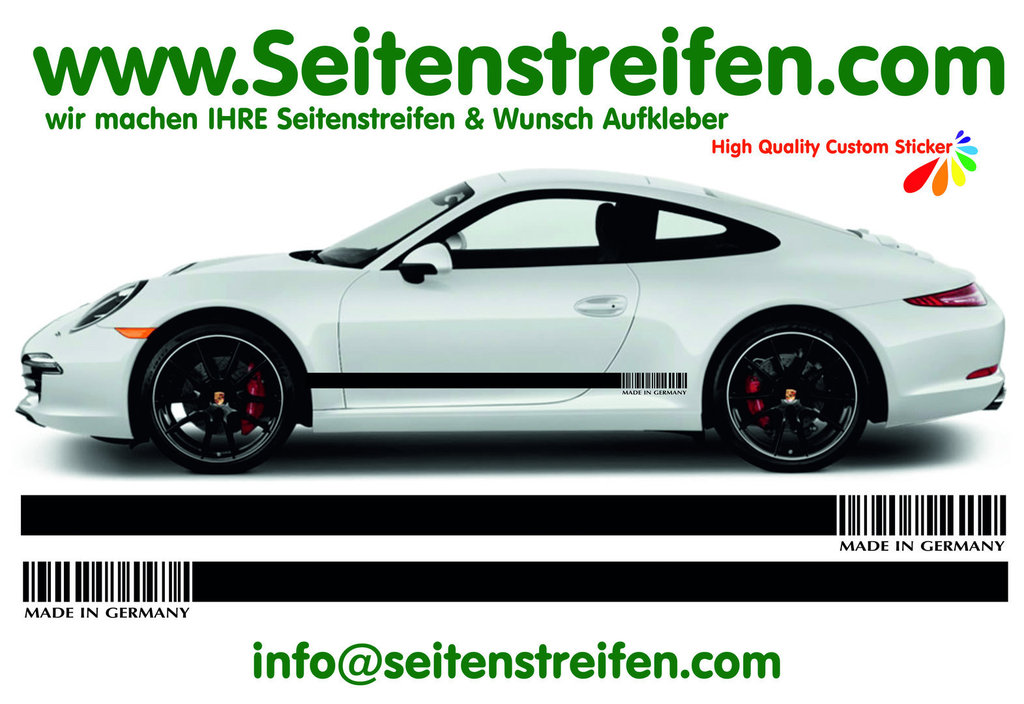Porsche 911 MADE IN GERMANY - side stripe sticker decal complete set - N° 7793