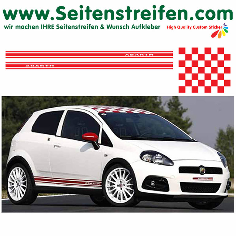 Fiat Punto - Roof Checker + ABARTH - bande latérale autocollant ensemble complet - N° 1060