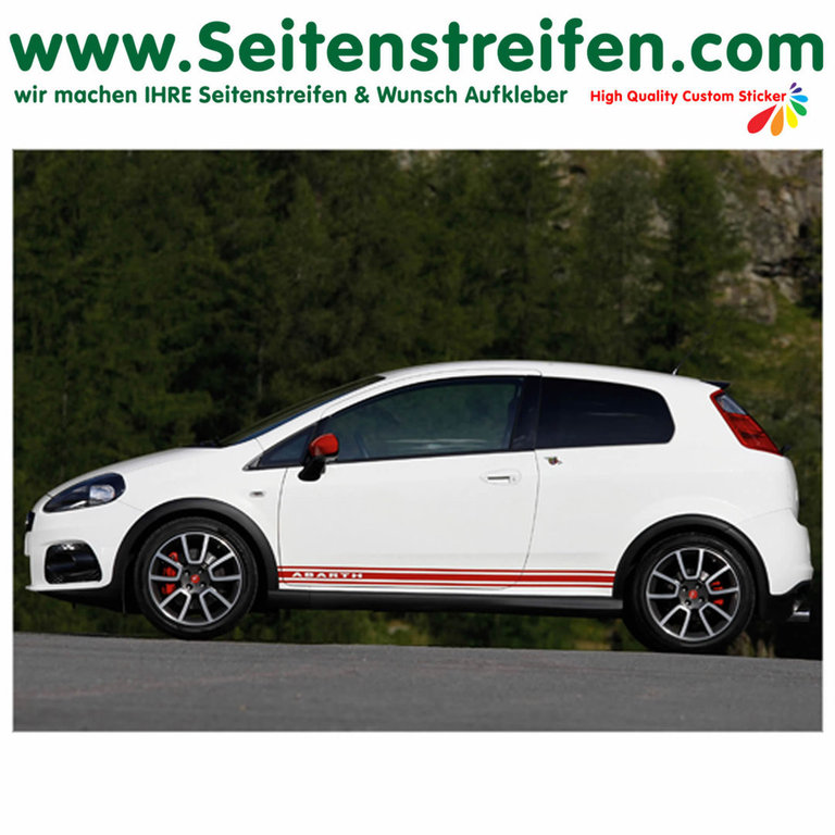 Fiat Punto + Grande Punto Abarth -  Side Stripes Graphics Decals Sticker Kit - N° 2014