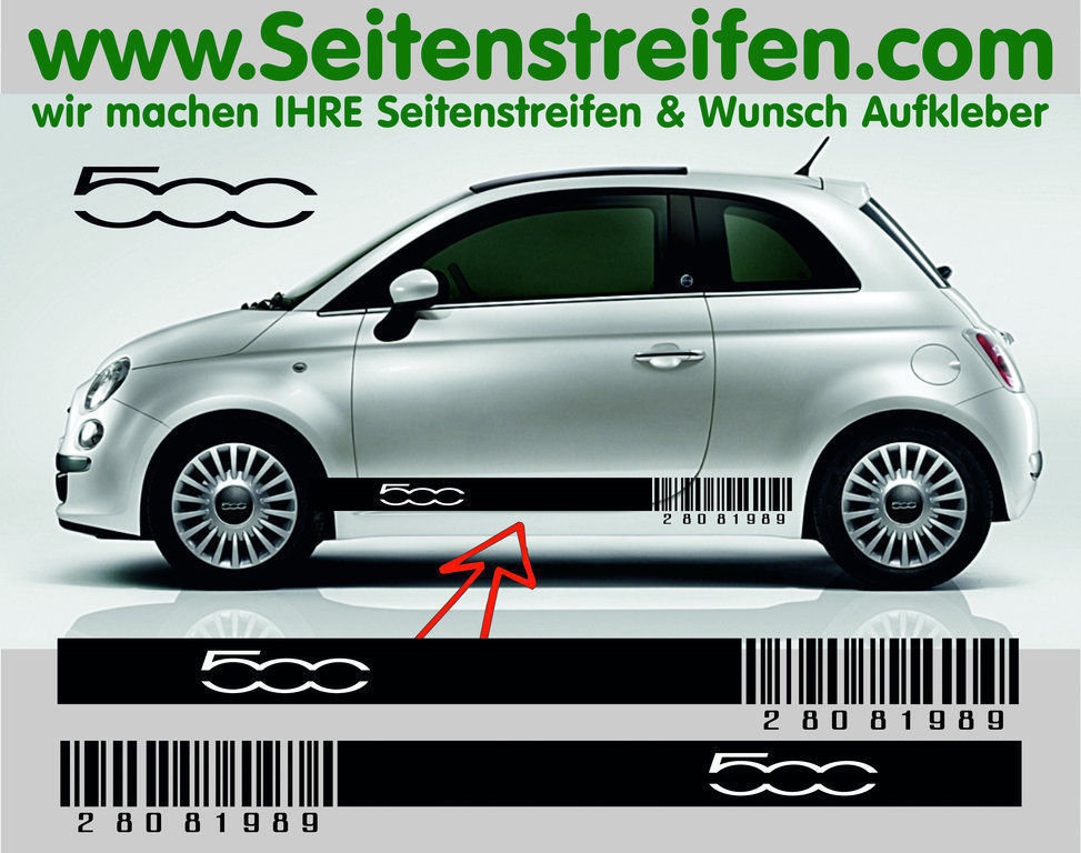 Fiat 500 Barcode - side stripe sticker decal complete set - N° 5177