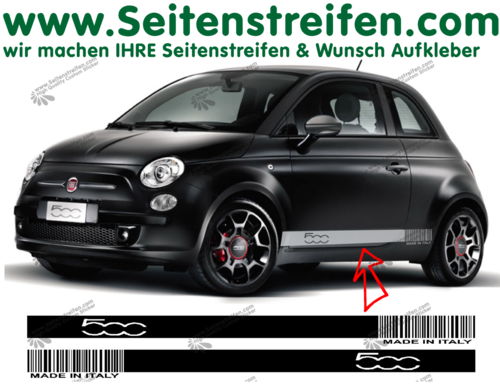 Fiat 500 Barcode MADE IN ITALY - side stripe sticker decal complete set - N° 1483