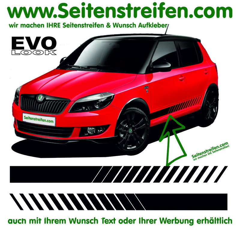 Skoda Fabia - Evo - Side Stripes Graphics Decals Sticker Kit - N° 1258