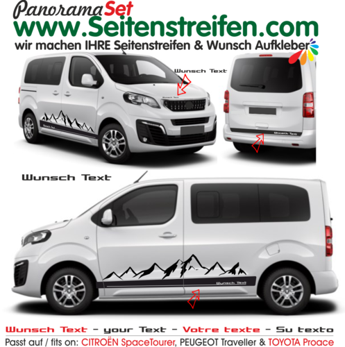CITROËN SpaceTourer, PEUGEOT Traveller & TOYOTA Proace - Berge Wunsch Text Set - N° 7903( Campster )