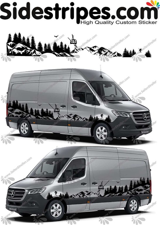 Mercedes Sprinter - Mountains Forest Ski - Graphics Decals Sticker Kit - N° U6720
