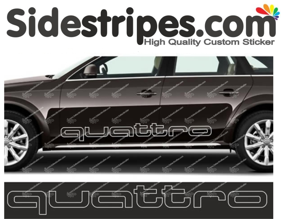 Audi Q5 - Quattro Sign Outline - Side Stripes Graphics Decals Sticker Kit - 120cm x 13cm - N° 6669