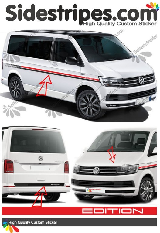 VW BUS T4 T5 T6 EVO Edition - Bicolor - Side Stripes Graphics Decals Sticker Kit - N° 2301