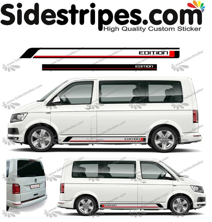 VW BUS T4 T5 T6 - Edition 2019 - Bicolor - Side Stripes Graphics Decals Sticker Kit - U1455